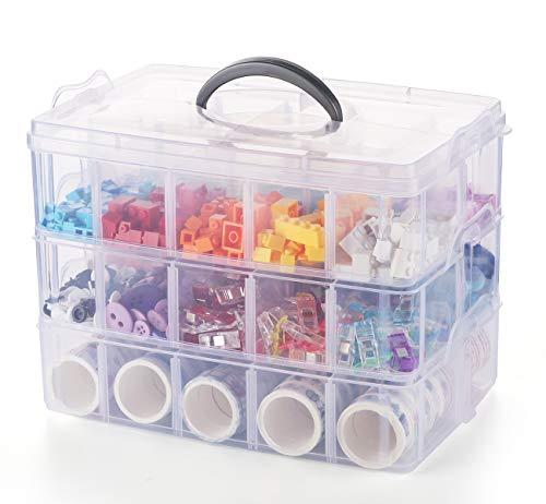 Anstore Fächer Sortierbox, Plastik Aufbewahrungsbox mit Tragegriff, praktisch Sortier für Verschiedene Kleinteile, 3 x 10 Fächer