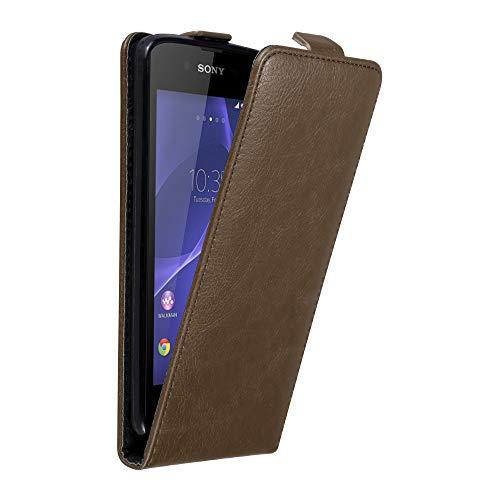 Cadorabo Hülle für Sony Xperia E3 in Kaffee BRAUN - Handyhülle im Flip Design mit unsichtbarem Magnetverschluss - Hülle Cover Schutzhülle Etui Tasche Book Klapp Style