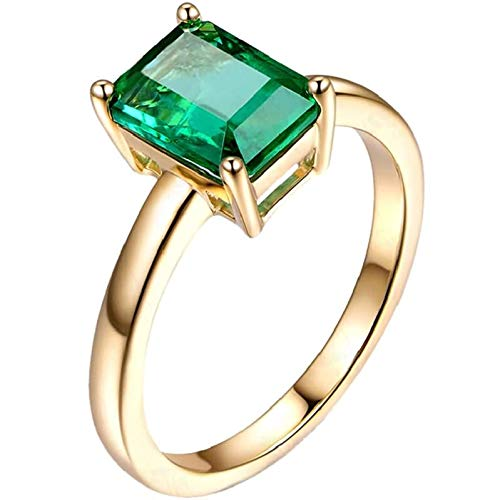 Ubestlove Art Deco Emerald Engagement Ring Novelty Gifts For Wife Diamond Accented Ring 1.2Ct P 1/2