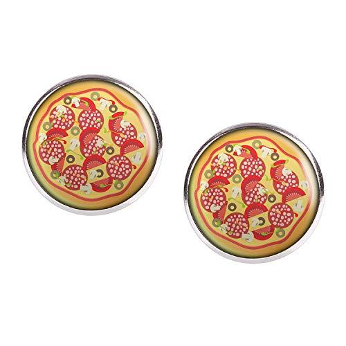 Studs par con motivo Pizza de Italia Pizzeria plata 16mm