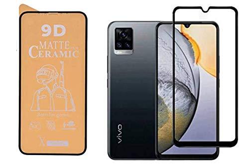 PR Smart® Vivo V20 Full Glue 9D Ceramic Matte Film Edge To Edge Full Screen Protector For Vivo v20 (Not a Tempered Glass) (Transparent Glass Black Border)