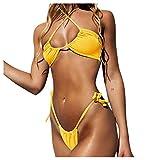 Conjunto de Bikini Halter con Cordones para Mujer, Traje de baño de Dos Piezas de Corte Alto con Tirantes Cruzados sólidos Sexis y Lazo Lateral