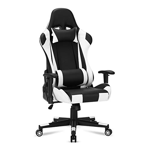 YOLENY Gaming Chair Computer Game Chair Office Chair Ergonomic High Back PC Desk Chair Height Adjustment Swivel Rocker with Headrest and Lumbar Support Lumbar Pillow,White
