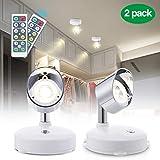 Lampe de Placard, Elfeland 2 Pack Lampe Murale orientable Blanc Chaud 4000K Spot sans fil à piles Minuterie Luminosité Réglable...
