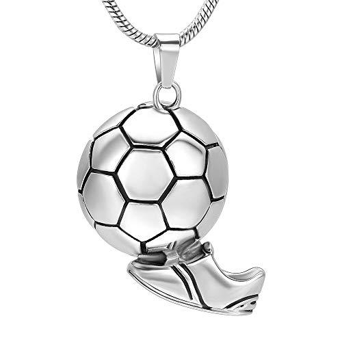 TIANZXS Amante del fútbol, joyería Conmemorativa de cremación, medallón de urna de Cenizas de Acero Inoxidable, Collar con Colgante de Recuerdo para Mujeres y Hombres