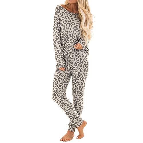 BaZhaHei 2 Stücke Frauen Trainingsanzug Leopardenmuster Hosen Sets Freizeit Tragen Lounge Tragen Anzug Schlafanzug Pyjama Outfits Set Lang Nachtwäsche Damen Zweiteilige Sleepwear