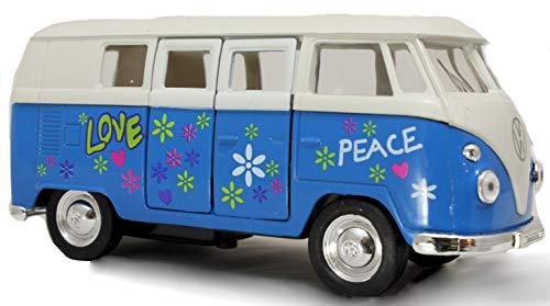 Schaepers Kaleidoskope Modellauto / VW Bus / Bulli / mit Rückzugantrieb /1:34 / ca. 12 cm / DREI Farben / Rot / Orange / oder Blau / Zufallsauswahl / Bulli