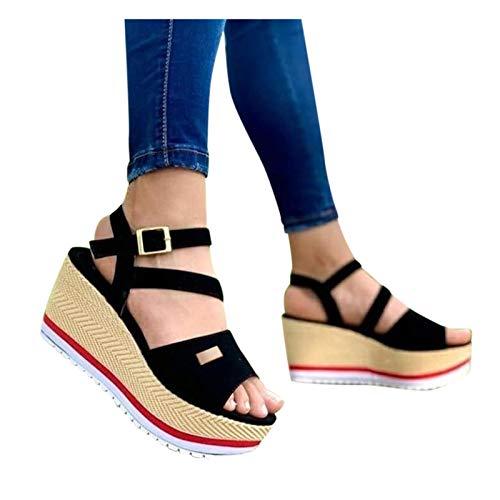 Reokoou Women s Summer Wedge Platform Sandals Casual Outdoor Comfortable Slip on High Heel Sandal Walking Shoes