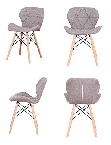 ZMALL - Juego de 4 sillas de comedor de lino tapizadas con patas de madera, cojín de asiento suave