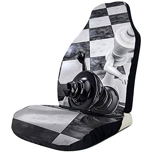 2PCS Car Seat Covers Checkmate Knockout Black and White Funny Chess Game Front Car Seat Cover Protector Fit for Cars Truck SUV Van