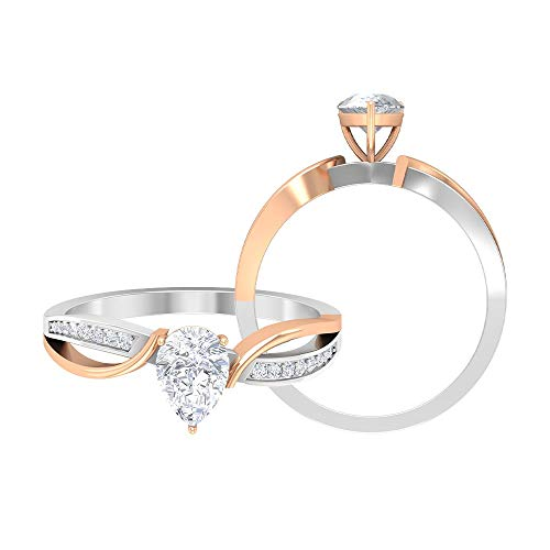 Unique Solitaire Engagement Rings, 0.86 CT D-VSSI Moissanite Split Shank Rings, Antique Bridal Wedding RIngs Set, Solid Gold Statement Rings, 14K Rose Gold, Size:UK P1/2