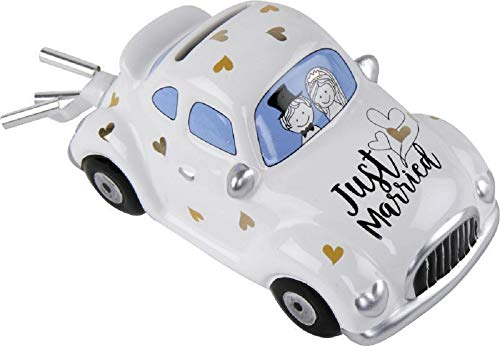 Home Collection - Hucha para Boda, Coche, Coche de Boda, Just Married, 16,3 x 8,5 x 7,7 cm