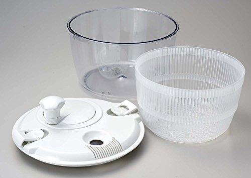 そのままサラダ容器にもなるすっきりとしたガラスのボウルに水切りザル、そしてフタの回転部分は裏側にあるネジを外せば分解できるのでしっかり洗えて衛生的です。