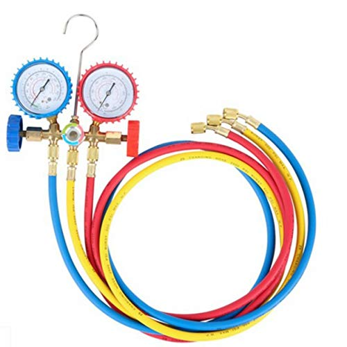 Shenykan R134A R12 R22 R502 Medidor de Divisor de Corriente refrigerante Juego de Herramientas Manómetro de diagnóstico de CA con mangueras de 3 Colores
