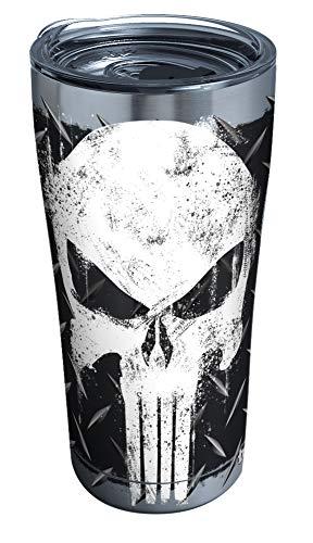 Tervis Copo isolado Marvel-Punisher 1292882 com tampa transparente e preta, aço inoxidável de 590 ml, prata