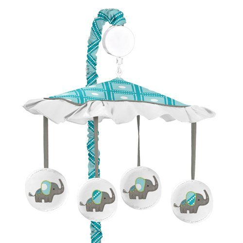 Sweet Jojo Designs Turquoise Blue Gray and White Mod Elephant Girl or Boy Musical Baby Crib Mobile
