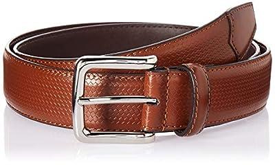Florsheim Men's Marshall 33MM Woven Dress Leather Belt, cognac, 36
