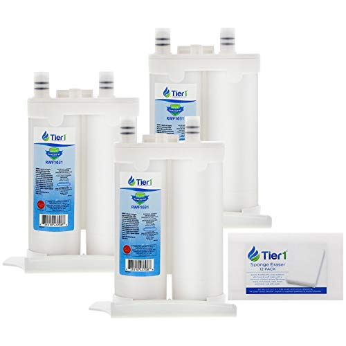 Tier1 Refrigerator Water Filter Replacement for WF2CB PureSource2, NGFC 2000, 1004-42-FA, 469911, 469916, FC 100 - Reduces Chlorine while Improving Water Taste - 3 Pack with 12 Eraser Cleaning Sponge