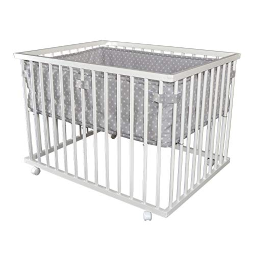 Laufgitter Babylaufgitter Laufstall 100x75cm Komplettset Babylaufstall 3-fach höhenverstellbar WEISS 53518