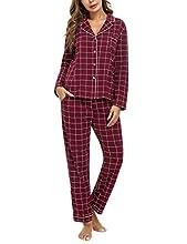 iClosam Pijama Mujer Invierno de 2 Piezas, Cuadros Pijama Camiseta y Pantalones Largos Pijamas Casual Ropa de Casa para Dormir Cálido y Comodo S-XXL