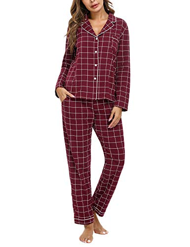 iClosam Pijama Mujer Cuadros Invierno Conjunto Pijamas de Manga Larga Ropa de Dormir Casa Comodo y Suave