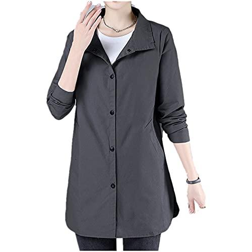 Cortavientos de longitud media de las mujeres primavera otoño estilo delgado abrigo largo