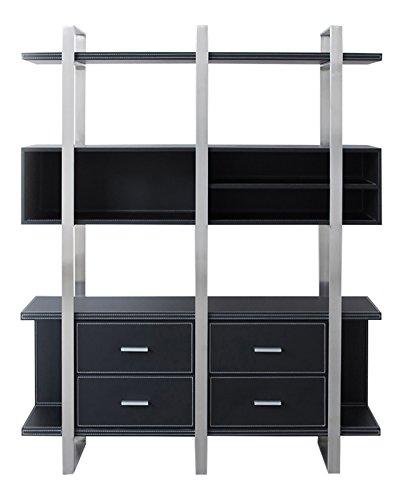 Jet-Line Büromöbel Design Aktenschrank Brindisi in Lederoptik schwarz Edelstahlrahmen office Ausstattung für Ihr Chefbüro
