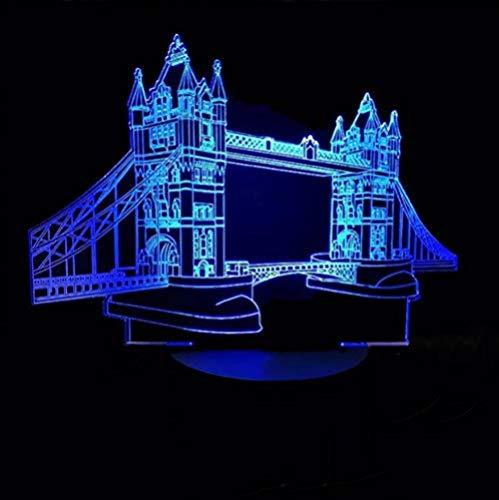 Ilusión 3D luz nocturna 7 colores visión LED USB torre puente forma dormitorio dormitorio junto a la cama decoración del sueño mesa arquitectónica regalo colorido control remoto