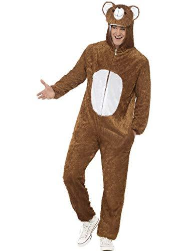 erdbeerclown - Herren Männer Damen Kostüm Plüsch Bär Braunbär Teddybär Bear Fell Einteiler Onesie Overall Jumpsuit, perfekt für Karneval, Fasching und Fastnacht, M, Braun