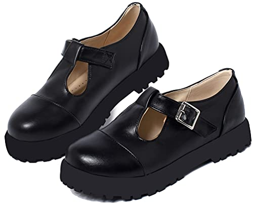 Caradise Womens T Strap Mary Jane Platform Low Heel School Uniform Dress Shoes Size 10.5 B(M) US,Black