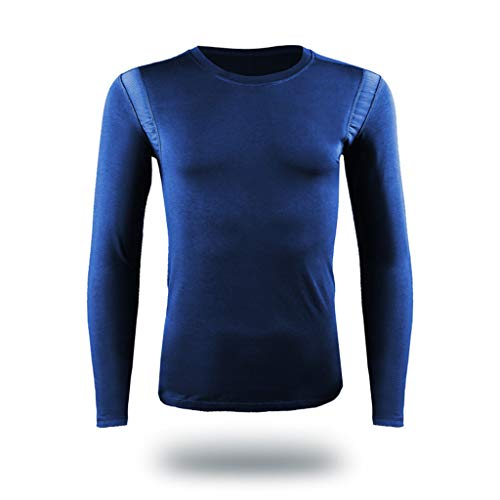 HebeTop Mens Thermal Underwear Set, Seamless Elastic Thermals Inner Wear, Solid Color Baselayer Underwear for Winter L-XXXL Blue