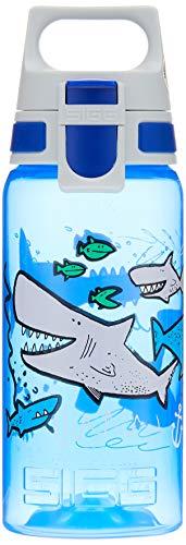 SIGG VIVA ONE Sharkies Kinder Trinkflasche (0.5l), schadstofffreie Kinderflasche mit auslaufsicherem Deckel, einhändig bedienbare Wasserflasche