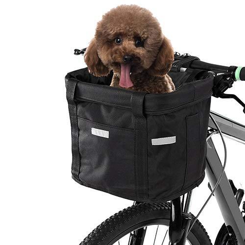 WSJF Fietsmand Hond, Fietsstuur Mand Huisdier Carrier, Eenvoudige installatie Afneembare Fietstas, 32cm*22.5cm*24.5cm
