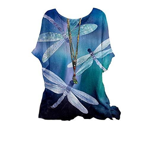 Top estivo da donna per il Regno Unito da donna con scollo a O, manica corta, stampa estiva, camicetta larga, tunica da donna, camicette e camicie promozionali, E-sky blue, XXL
