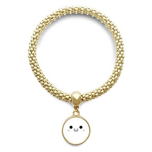 DIYthinker Womens Kaomoji Blush Expressie gouden armband ronde hanger sieraden ketting