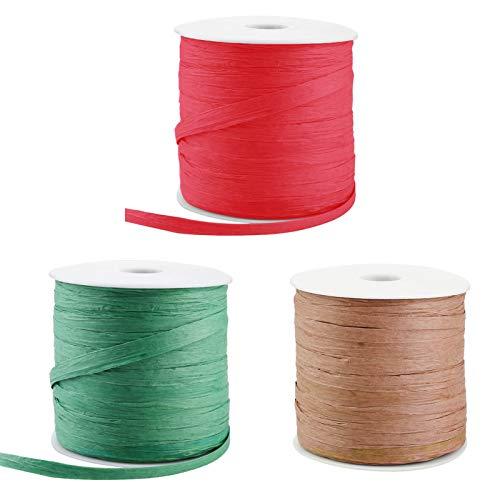 gerFogoo Bastband, 210 m Papierbandage, geeignet für Weihnachten, Halloween, Geburtstag, Hochzeit, Party, Geschenkverpackung, Grün + Khaki + Rot