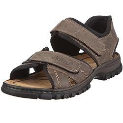 Rieker Herren Sandalen 25051, Männer Trekking Sandalen, Freizeit leger Outdoor-Sandale Sport-Sandale Profilsohle,Tabak/schwarz / 27,47 EU / 12 UK