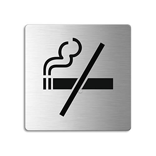 OFFORM Plaque de Porte en Acier INOX brossé, Pictogramme Fumer Interdit, 85x85 mm No.48112