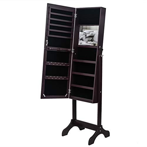 LLP LM Full Mirror Wooden Floor Standing 4-Layer Shelf with Inner Mirror Jewelry Storage Adjustable Mirror Cabinet - Dark Brown for Indoor,a