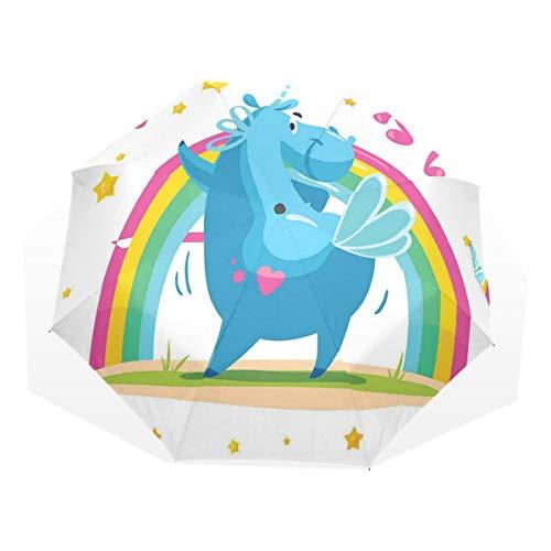 LASINSU Mini Ombrello Portatile Pieghevoli Ombrello Tascabile,Cavallo Colorato Cartone Animato Con Corno Danza Front Of The Rainbow Animale Divertente,Antivento Leggero Ombrello per Donna