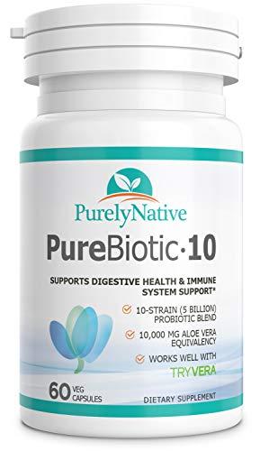 Purebiotic10 - Probiotic Supplement for Men, Woman, Seniors & Vegans - 7 Verified Strains of Lactobacillus & Acidophilus, 3 Verified Strains Bifidobacterium - 5-10 Billion CFU Digestive & Gut Health