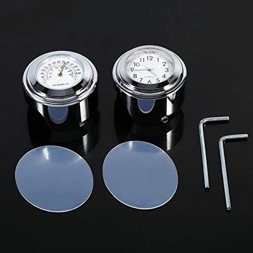 "EVGATSAUTO 7/8""1"" Aluminiumlegierung Galvanik Oberfläche Motorrad Lenkerhalterung Uhr Zifferblatt Uhr & Thermometer Temp"