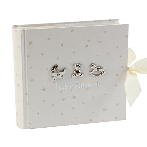 Álbum de fotos Bambino para baby shower, diseño en blanco con estrellas plateadas e iconos, 15,25 x 10 cm