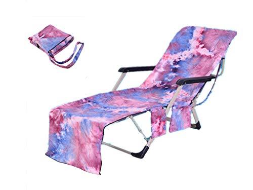 Style de Peinture à l'huile Serviette de Sport de Plage pour Le Jardin Chaise Longue de Jardin Compagnon de lit Couverture avec Sacoche Latérale 210x75 cm Hommes et Femmes (Rose)