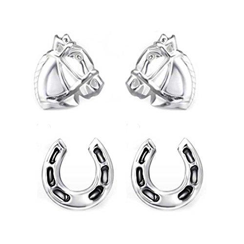 SL-Silver Set di orecchini cavallo e Ferro di cavallo 925Argento in confezione regalo