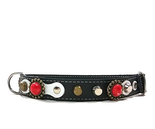 Superpipapo Hunde-Halsband, Handmade Schwarz Leder für Kleine und Mittelgroße Hunde, Edel Schwarz Weiß Nieten und Koralle Rote Steine, 40 cm XS-Wide: Halsumfang 25-30 cm, Breit 28mm