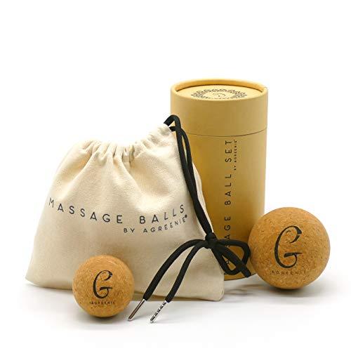 aGreenie Massageball Set aus Kork 5 + 7cm - Faszienkugel zur Selbstmassage der Triggerpunkte Rücken, Nacken und Füße - Lösung von Verspannungen und Regeneration + Inkl. Übungsanleitungen