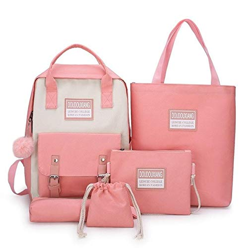 5 pcs Sets Canvas Schoolbags for Teenage Girls Women,New Trend Female Backpack Nylon Women Backpack Child Student Shoulder Bag