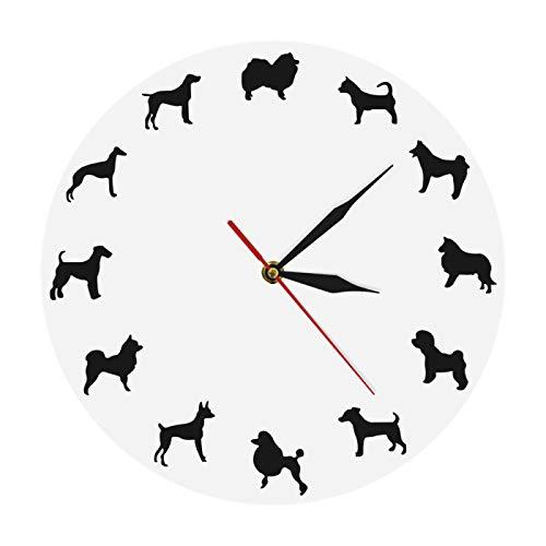 gongyu Reloj de Pared de Diferentes Razas de Perros Bulldog Reloj silencioso Moderno diseño de Husky decoración de Arte de Pared Dachshund para Tienda de Mascotas Regalo para Amantes de los Perros