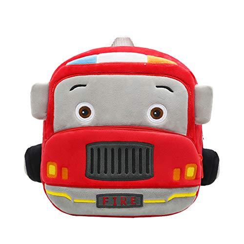 Lazeny Mochila para Niños Linda Auto Preescolar Bolso Escolar, Dibujos Animados Felpa Primaria Pequeña Guardería Mochila, Chico Chica Bebe Mochila para 2-6 años (Camión Bomberos)